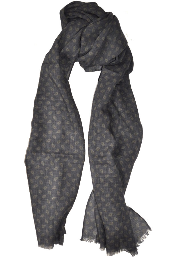 New Luigi Borrelli Navy Blue Wool Blend Scarf